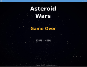 Asteroid Wars - Game Over Screen